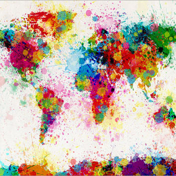 Paint Splashes Map of the World Map Art Print 24x36 by artPause