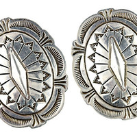Southwestern Silver Concho Earrings Sterling Silver