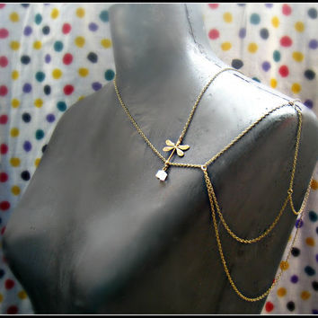 dragonfly body chain harness dragonfly necklace by alapopjewelry
