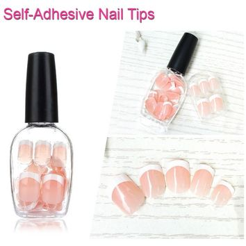 24pcs Nail Polish Box Classic French Manicure Nails Tip Nude Self-Adhesive Fake Nail White Press-On False Artifical Nails U0656