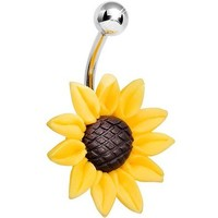 Stunning Sunflower Belly Ring By 7z Acc
