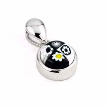 "Sterling Silver Black And White Glass Murano Millefiori Glass Pendant Round  (Free 18"" Chain)"