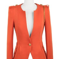 Round Neck One Button Blazer - OASAP.com