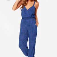 LULUS Exclusive Devoted to Design Blue Print Jumpsuit