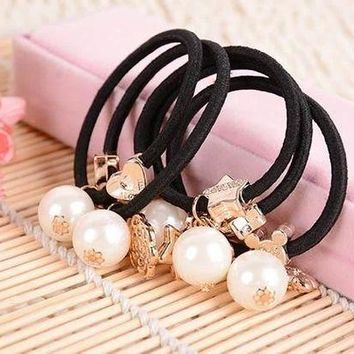 PEAPGC3 10pcs Big Pearls Gold Plated Star Heart Flowers Black Elastic Ponytail Holders Hair Accessories Girl Women Rubber Band Mixed
