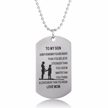 90841bb6d Mom Love To Son Dog Tag Military Pendant Necklace Mother Family