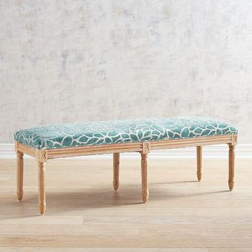 Eliane Teal Flower Bench