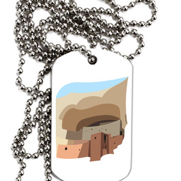 Montezuma Castle Artwork Adult Dog Tag Chain Necklace