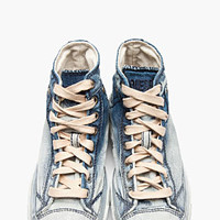 Diesel Blue And Silver Denim High-top Exposure Sneakers for women | SSENSE