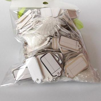 100pcs Paper Jewelry Price Tags Strung Pricing Tag with String Gold and Silver