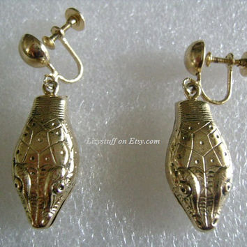 Scarce Whiting and Davis Jewelry Accessories Egyptian Revival Gold Tone/Plated Figural Exotic Animal Snake Head Dangle Screw Back Earrings