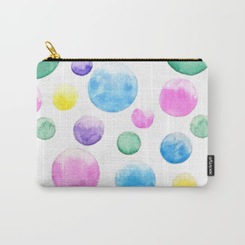 cheerful colorful bubbles Carry-All Pouch by Color And Color