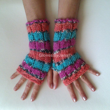 Alpaca wool multicolor fingerless gloves cozy gloves multicolor turquoise orange fuchsia grey gloves free shipping