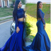 High Neck Long Sleeve Blue Prom Dresses