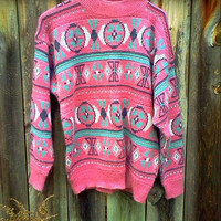Pastel Pink and Teal Southwestern Sweater