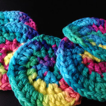 Set of 7 Face Scubbers/Scrubbies 5 Small and 2 Mini  (100% Cotton) Rainbow Colors; More Colors Available in Our Shop!