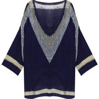 Geometric Pattern V-Neck Long Sleeve Asymmetrical Knitted Sweater