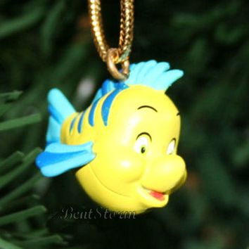 Licensed cool Custom Disney The Little Mermaid Ariel Flounder Fish Christmas Ornament PVC #1
