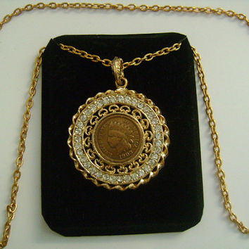 1903 Indian Head Penny One Cent  Coin U.S.A United States of America Gold Tone or Plated CZ Cubic Zirconia Medallion Pendant Chain Necklace