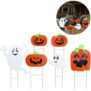 TINKSKY 6pcs Halloween Yard Sign Set Pumpkin Ghost Spooky Decoration with Stake Halloween Outdoor Accessory