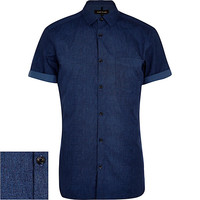 River Island MensDark blue textured short sleeve shirt