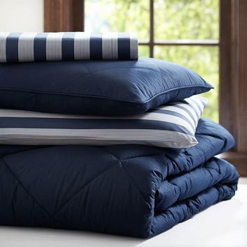 Brooklyn Stripe Essential Value Bedding Set, Navy