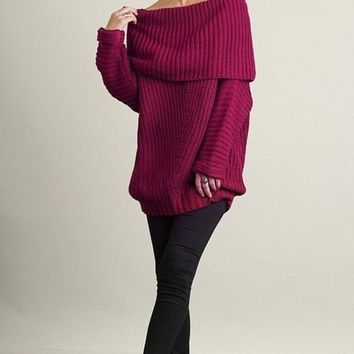 Freebird Burgundy Ribbed Sweater - FINAL SALE