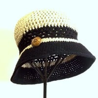 Womans Summer Hat, Crochet Cloche, Beige, Black, Vintage Button, Beach, Resort