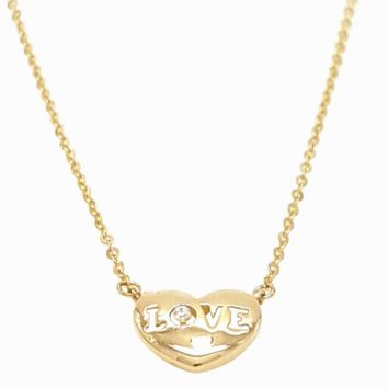 Heart Love Real 14K Solid Yellow Gold Necklace