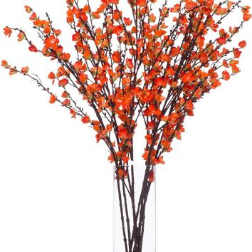 Coral Plum Blossom In Tall Square Vase
