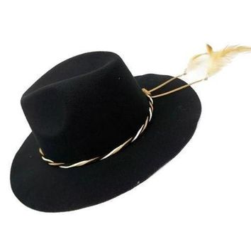 Feather Accent Black Fedora Hat