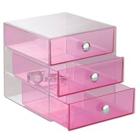 InterDesign 3 Drawer Storage Organizer for Cosmetics, Makeup, Beauty Products and Office Supplies, Berry Pink