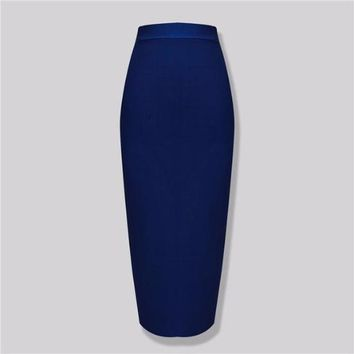 Knee Length Bandage Skirt Knitted Elastic Sweet Designer Skirt
