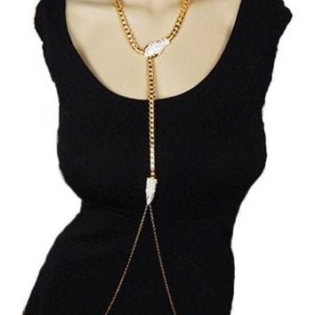 Goldtone Snake Body Chain with Clear Stone Dangling Long Chains Body Jewelry