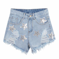 Sequin Star Print Distressed Denim Shorts