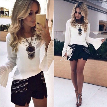 White Long Horn Sleeve T-Shirt with Lace