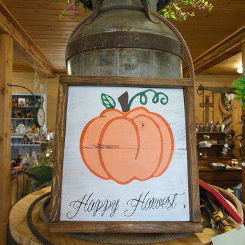 "Joyful Island Creations ""Happy Harvestl"" wood sign, thanksgiving sign, fall wood sign, fall decor, holiday wood sign, pumpkin wood sign"