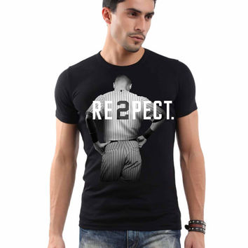 Respect Derek Jeter yankees men tshirt black---- size S,M,L,XL,2XL,3XL,4XL