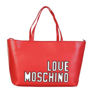 New! Love Moschino Large Red Logo Bag