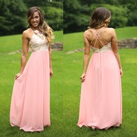 Cross Roads Maxi Dress in Blush