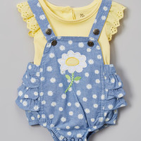Yellow Tee & Daisy Ruffle Overalls - Infant