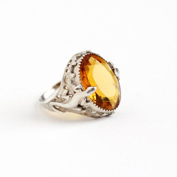 Vintage Art Deco Sterling Silver Simulated Citrine Filigree Lizard Ring - Antique 1920s Size 7 1/2 Orange Yellow Stone Gecko Reptile Jewelry