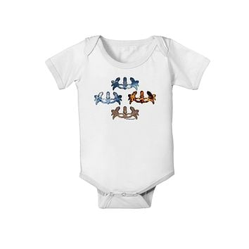 Four Elemental Masquerade Masks Baby Romper Bodysuit by TooLoud
