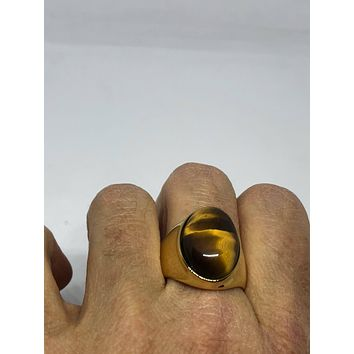 Vintage 1980's Gothic Golden Stainless Steel Genuine Tiger's Eye Ring