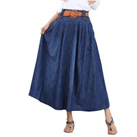 MapleClan Vintage Pleated Denim Swing Skirt with Belt Black - M