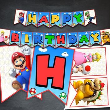 Super Mario party nes switch  Bros Banner Baby Shower Birthday Party Decorations Kids Party Supplies  and Luigi Party Flags Candy Bar AT_80_8