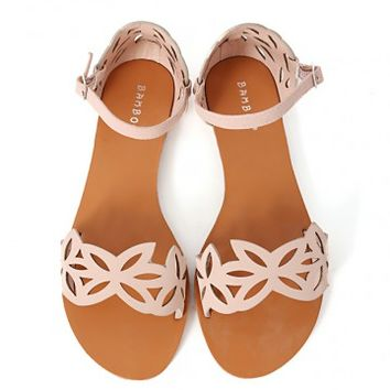 Bamboo Cope-64 Cut Out Flower Sandals | MakeMeChic.com