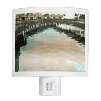 Fun Tropical Maldives Water Bungalows Beach Lagoon Night Light