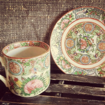 Vintage China Demitasse Teacup and Saucer Hand Painted Rose Medallion