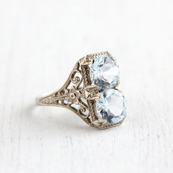 Antique 14k White Gold Filigree Blue Topaz Ring - Vintage Size 7 Aquamarine Blue Stones 1920s Art Deco Fine Jewelry / Stacked Round Cut